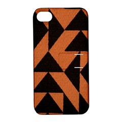 Brown Triangles Background Apple Iphone 4/4s Hardshell Case With Stand by Simbadda