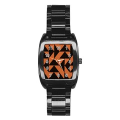 Brown Triangles Background Stainless Steel Barrel Watch