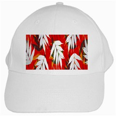 Leaves Pattern Background Pattern White Cap by Simbadda