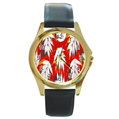 Leaves Pattern Background Pattern Round Gold Metal Watch by Simbadda