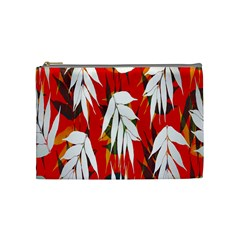 Leaves Pattern Background Pattern Cosmetic Bag (medium)  by Simbadda