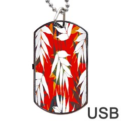 Leaves Pattern Background Pattern Dog Tag Usb Flash (two Sides) by Simbadda