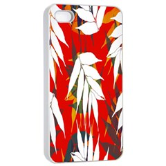 Leaves Pattern Background Pattern Apple Iphone 4/4s Seamless Case (white) by Simbadda