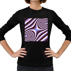 Fractal Background With Curves Created From Checkboard Women s Long Sleeve Dark T Shirts by Simbadda