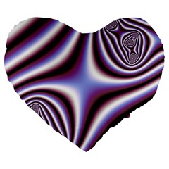 Fractal Background With Curves Created From Checkboard Large 19  Premium Heart Shape Cushions by Simbadda