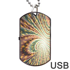 Vortex Glow Abstract Background Dog Tag Usb Flash (one Side) by Simbadda