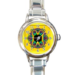 Fractal Rings In 3d Glass Frame Round Italian Charm Watch by Simbadda
