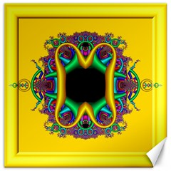 Fractal Rings In 3d Glass Frame Canvas 16  X 16   by Simbadda