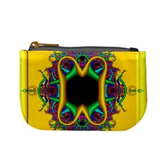 Fractal Rings In 3d Glass Frame Mini Coin Purses
