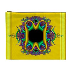 Fractal Rings In 3d Glass Frame Cosmetic Bag (xl) by Simbadda