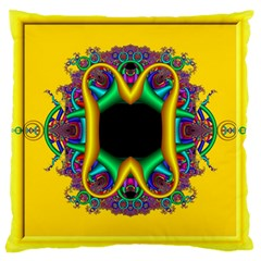 Fractal Rings In 3d Glass Frame Large Cushion Case (two Sides) by Simbadda