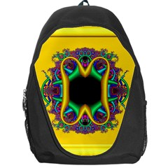 Fractal Rings In 3d Glass Frame Backpack Bag by Simbadda