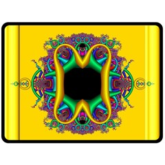 Fractal Rings In 3d Glass Frame Double Sided Fleece Blanket (large)  by Simbadda