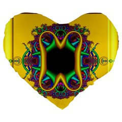 Fractal Rings In 3d Glass Frame Large 19  Premium Flano Heart Shape Cushions by Simbadda