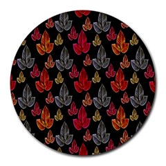 Leaves Pattern Background Round Mousepads by Simbadda