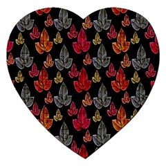 Leaves Pattern Background Jigsaw Puzzle (heart) by Simbadda