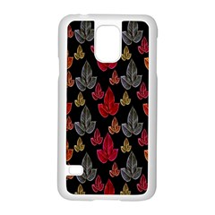 Leaves Pattern Background Samsung Galaxy S5 Case (white) by Simbadda