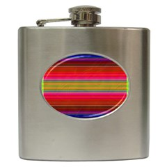 Fiestal Stripe Bright Colorful Neon Stripes Background Hip Flask (6 Oz) by Simbadda
