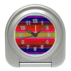 Fiestal Stripe Bright Colorful Neon Stripes Background Travel Alarm Clocks by Simbadda
