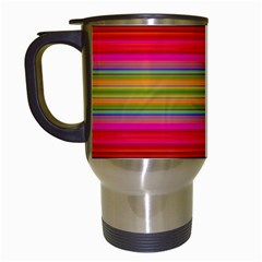 Fiestal Stripe Bright Colorful Neon Stripes Background Travel Mugs (white) by Simbadda