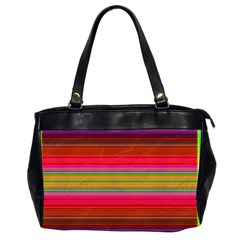 Fiestal Stripe Bright Colorful Neon Stripes Background Office Handbags (2 Sides)  by Simbadda