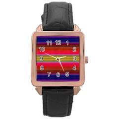 Fiestal Stripe Bright Colorful Neon Stripes Background Rose Gold Leather Watch  by Simbadda