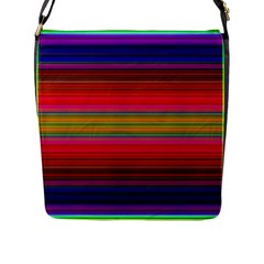 Fiestal Stripe Bright Colorful Neon Stripes Background Flap Messenger Bag (l)