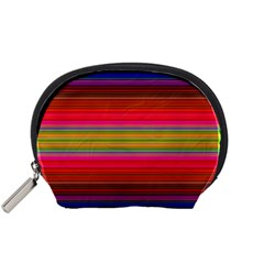 Fiestal Stripe Bright Colorful Neon Stripes Background Accessory Pouches (small)  by Simbadda