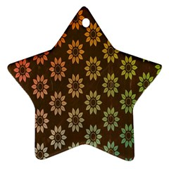 Grunge Brown Flower Background Pattern Ornament (star)
