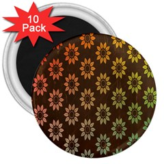 Grunge Brown Flower Background Pattern 3  Magnets (10 Pack)