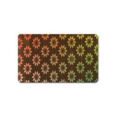 Grunge Brown Flower Background Pattern Magnet (name Card) by Simbadda