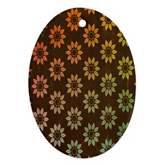 Grunge Brown Flower Background Pattern Oval Ornament (two Sides) by Simbadda