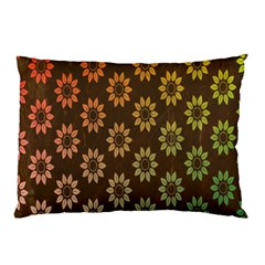 Grunge Brown Flower Background Pattern Pillow Case by Simbadda