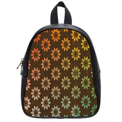 Grunge Brown Flower Background Pattern School Bags (small)  by Simbadda