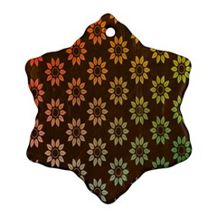 Grunge Brown Flower Background Pattern Snowflake Ornament (two Sides)