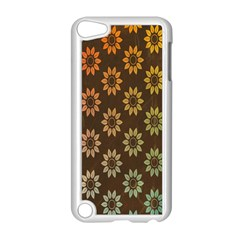 Grunge Brown Flower Background Pattern Apple Ipod Touch 5 Case (white) by Simbadda