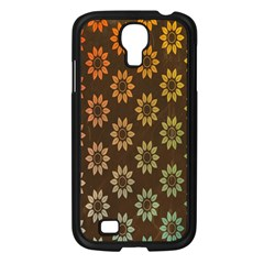 Grunge Brown Flower Background Pattern Samsung Galaxy S4 I9500/ I9505 Case (black) by Simbadda