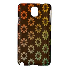 Grunge Brown Flower Background Pattern Samsung Galaxy Note 3 N9005 Hardshell Case by Simbadda