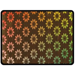 Grunge Brown Flower Background Pattern Double Sided Fleece Blanket (large)  by Simbadda