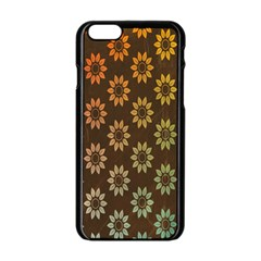 Grunge Brown Flower Background Pattern Apple Iphone 6/6s Black Enamel Case