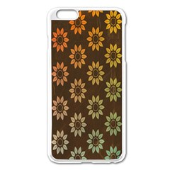 Grunge Brown Flower Background Pattern Apple Iphone 6 Plus/6s Plus Enamel White Case