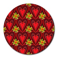 Digitally Created Seamless Love Heart Pattern Tile Round Mousepads by Simbadda