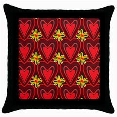 Digitally Created Seamless Love Heart Pattern Tile Throw Pillow Case (black)