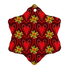 Digitally Created Seamless Love Heart Pattern Tile Snowflake Ornament (two Sides)
