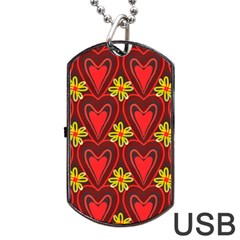 Digitally Created Seamless Love Heart Pattern Tile Dog Tag Usb Flash (two Sides) by Simbadda