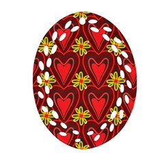 Digitally Created Seamless Love Heart Pattern Tile Oval Filigree Ornament (two Sides)
