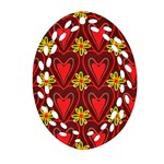 Digitally Created Seamless Love Heart Pattern Tile Oval Filigree Ornament (Two Sides) Front