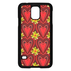 Digitally Created Seamless Love Heart Pattern Tile Samsung Galaxy S5 Case (black) by Simbadda