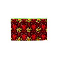 Digitally Created Seamless Love Heart Pattern Tile Cosmetic Bag (xs) by Simbadda