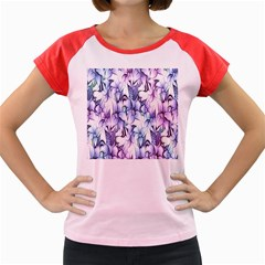 Floral Pattern Background Women s Cap Sleeve T Shirt